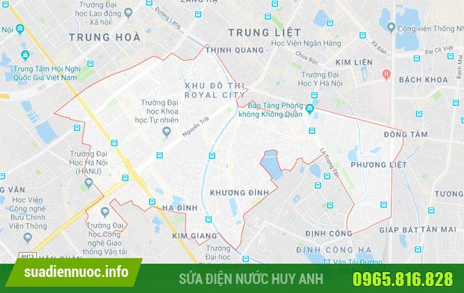Phạm vi hoạt động sửa bình nóng lạnh tại quận Thanh Xuân