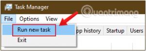 Chọn Run New Task ở menu File
