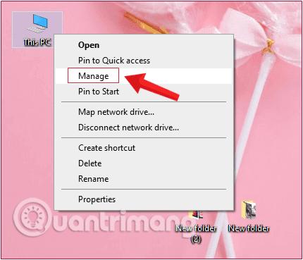 Kích chuột phải vào biểu tượng Computer chọn Manage.