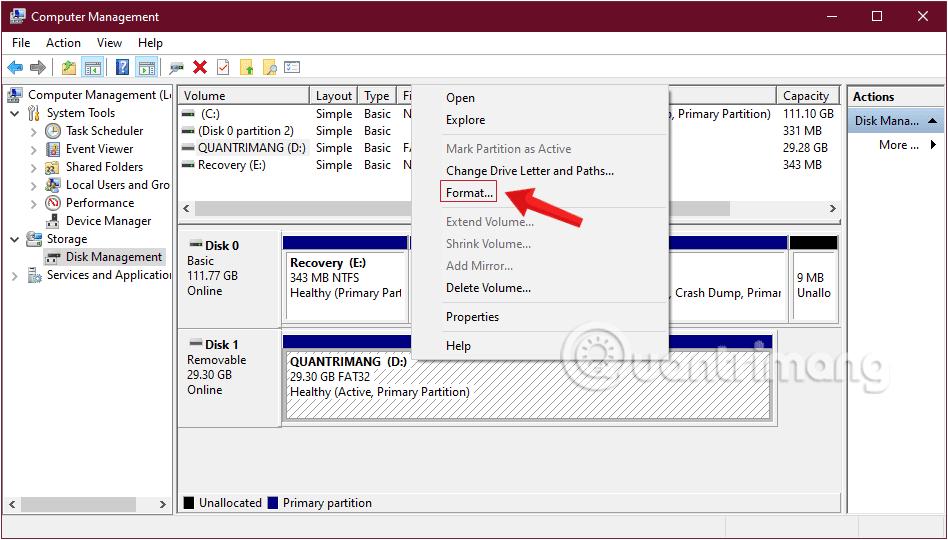 Kích chuột phải vào ổ USB Flash Drive và chọn Format