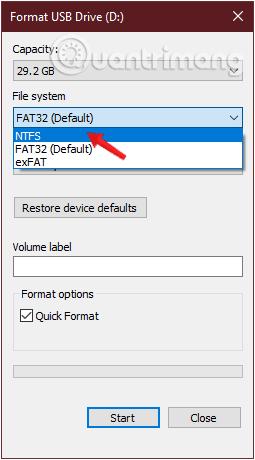 Thay đổi định dạng FAT32 thành NTFS hoặc định dạng khác