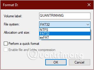 Thay đổi định dạng FAT32 thành NTFS hoặc exFAT