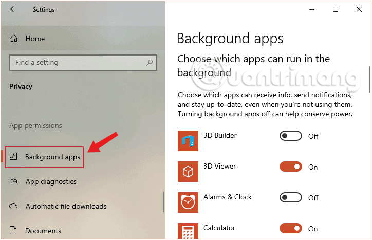Chọn Background apps để kiểm tra những ứng dụng chạy ngầm trên hệ thống