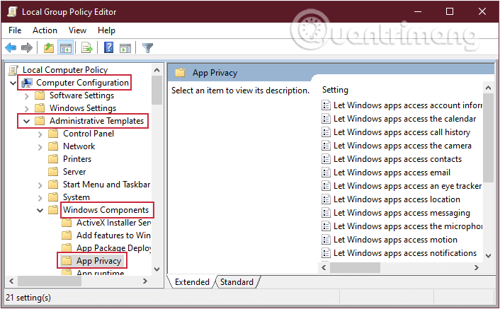 Điều hướng theo đường dẫn Computer Configuration > Administrative Templates > Windows Components > App Privacy