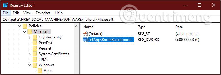 New > DWORD (32-BIT) Value, đặt tên key mới là LetApps RunInBackground