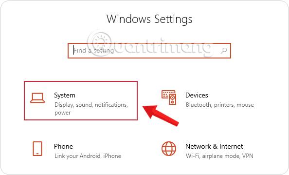 Nhấn chọn System trong Windows Settings