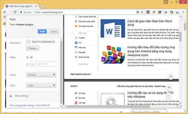 Sử dụng tính năng in để copy nội dung website: