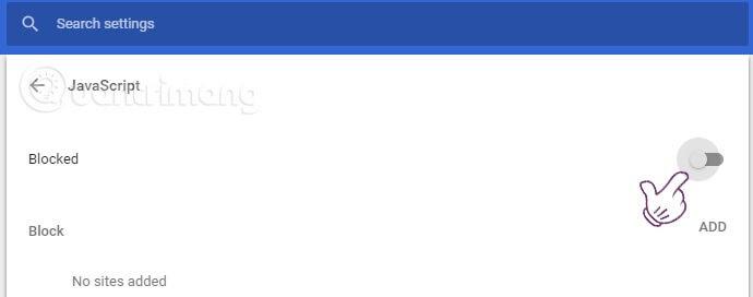 Tắt tính năng hỗ trợ JavaScript trên Google Chrome