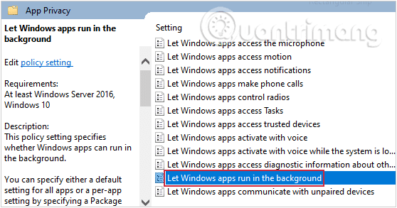 Tìm tùy chọn Let Windows apps run in the background trong App Privacy